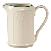 Homer Laughlin 1430-0042 Green Jade Gothic 7.75 oz. Creamer - Off White 36 / Case