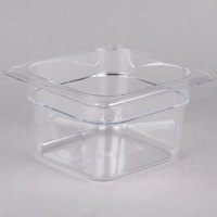 Cambro 64CW135 Camwear 1/6 Size Clear Polycarbonate Food Pan - 4 inch Deep
