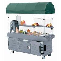Cambro CamKiosk KVC854C191 Granite Gray Vending Cart with 4 Pan Wells and Canopy