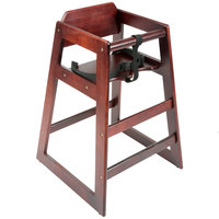 Lancaster Table & Seating Assembled Stacking Restaurant Wood High Chair with Mahogany Finish