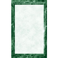 8 1/2 inch x 14 inch Menu Paper - Green Marble Border - 100/Pack