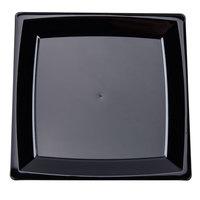WNA Comet MS6BK 5 1/4 inch Black Square Milan Plastic Dessert Plate - 12/Pack