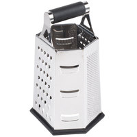 Tablecraft SG204BH 9 1/2 inch 6-Sided Stainless Steel Box Grater with Soft Grip