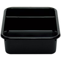 Cambro 1621CBP110 Poly Cambox 21 inch x 16 inch x 5 inch Black Two Compartment Polyethylene Bus Box
