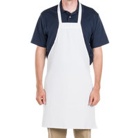 Choice White Full Length Bib Apron - 34 inch x 34 inchW