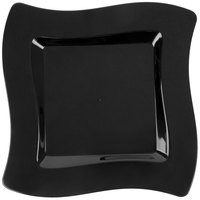 Fineline Wavetrends 106-BK 6 1/2 inch Black Plastic Square Plate - 120/Case