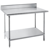 Advance Tabco KLG-245 24 inch x 60 inch 14 Gauge Work Table with Galvanized Undershelf and 5 inch Backsplash