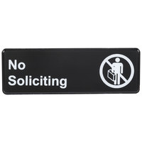 No Soliciting Sign - Black and White, 9 inch x 3 inch