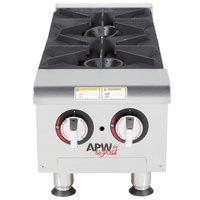 APW Wyott HHP-212 Natural Gas Heavy Duty 2 Burner Countertop 12 inch Range / Hot Plate - 60,000 BTU