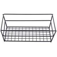 American Metalcraft RMB95B Black Rectangular Small Grid Basket - 9 inch x 6 inch x 2 1/2 inch