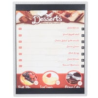 8 1/2 inch x 11 inch Menu Solutions ALSIN811-ST Single Panel Brushed Finish Aluminum Menu Board with Top and Bottom Strips