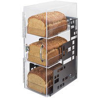 Cal-Mil 1614-13 Squared Three Tier Black Steel Bread Case - 7 inch x 12 inch x 20 inch
