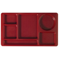 Cambro 915CW416 Camwear (2 x 2) 8 3/4 inch x 15 inch Cranberry Six Compartment Serving Tray - 24/Case