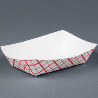 #25 1/4 Red Check Paper Food Tray - 1000 / Case