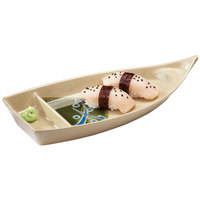 GET 136-TD Japanese Traditional 10 1/2 inch Two Compartment Boat 10 oz. Plate - 12/Case