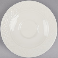 Homer Laughlin HL3287000 Gothic 4 1/2 inch Ivory (American White) Undecorated China Saucer - 36/Case