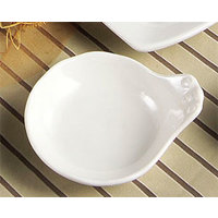CAC SOH-43 Soho 4 oz. Ivory (American White) Stoneware Fruit / Monkey Dish with Handle - 48/Case