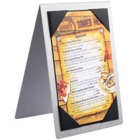 Menu Solutions MTDBL-411 Alumitique Two View Brushed Aluminum Menu Tent with Picture Corners - 4 1/4 inch x 11 inch