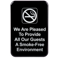 We Are Pleased To Provide All Our Guests A Smoke-Free Environment Sign - Black and White, 9 inch x 6 inch