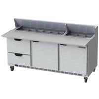 Beverage-Air SPED72HC-18C-2 72 inch 2 Door 2 Drawer Mega Top Refrigerated Sandwich Prep Table