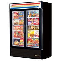 True GDM-49F-LD Black Glass Swing Door Merchandiser Freezer with LED Lighting - 49 Cu. Ft.