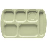 GET TR-151 Green Melamine 10 inch x 15 1/2 inch Right Hand 6 Compartment Tray - 12/Pack