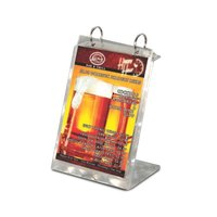 Menu Solutions MT2R-TOPB Alumitique Aluminum Menu Tent with Top Rings - Swirl Finish - 6 inch x 7 3/4 inch