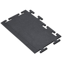Cactus Mat 2560-CTLB Tile Lock 12 inch x 24 inch Black Rubber Interlocking Weight Room Mat Border - 3/8 inch Thick
