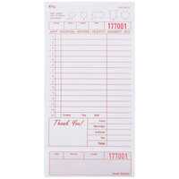 Choice 2 Part Tan and White Carbonless Guest Check with Beverage Lines and Bottom Guest Receipt - 2000 Loose Packed Checks / Case