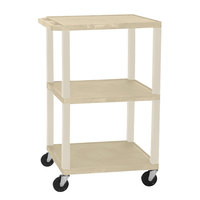 Luxor / H. Wilson WT1642E Putty Tuffy Open Shelf A/V Cart 18 inch x 24 inch with 3 Shelves - Adjustable Height