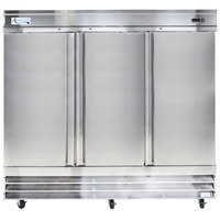 """Avantco CFD-3RR 81"""" Three Section Solid Door Reach in Refrigerator"""