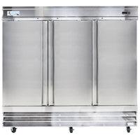 "Avantco CFD-3RR 81"" Three Section Solid Door Reach in Refrigerator - 72 cu. ft."