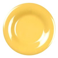 "Thunder Group CR009YW 9 1/4"" Yellow Wide Rim Melamine Plate - 12/Pack"