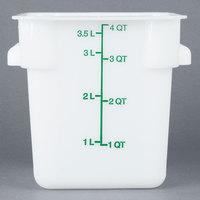 Carlisle 1073102 4 Qt. White Square Carlisle StorPlus Container