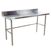 Regency 30 inch x 72 inch 16-Gauge 304 Stainless Steel Commercial Open Base Work Table with 4 inch Backsplash