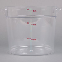 Cambro RFSCW6135 Camwear 6 Qt. Clear Round Food Storage Container