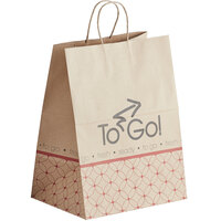 Bagcraft Natural Kraft Paper Shopping Bag with Handles - Meals to Go Printing 12 inch x 9 inch x 16 inch   - 200/Bundle