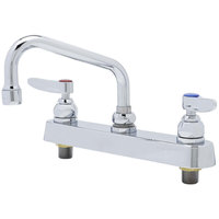 T&S B-1120-QT Deck Mount Workboard Faucet with 8 inch Centers, 6 inch Swing Nozzle, and Polished Chrome Plated Escutcheon