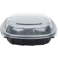 39 oz. Black 8 inch x 8 inch x 3 inch Square Microwaveable Plastic Hinged Take-Out Container - 138/Case
