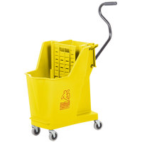 Continental 351YW 35 Qt. Yellow Unibody Mop Bucket with Built-In Wringer