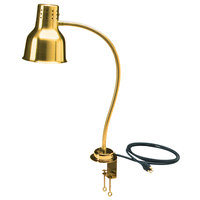 Carlisle HL8185GC00 FlexiGlow 24 inch Single Arm Aluminum Heat Lamp with Gold Finish and Clamp - 120V