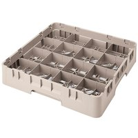 Cambro 16S1114184 Camrack 11 3/4 inch High Customizable Beige 16 Compartment Glass Rack