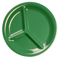 Thunder Group CR710GR 10 1/4 inch Green 3-Compartment Melamine Plate - 12/Pack