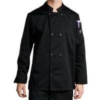 Chef Revival J061BK-XS Size 32 (XS) Black Customizable Double Breasted Chef Coat - Poly-Cotton