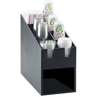 Cal-Mil 2046 Classic Black Countertop Condiment, Cup and Lid Organizer with Napkin Dispenser Slot