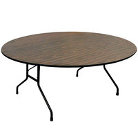 Correll CF60MR 60 inch Round Walnut Melamine Top Folding Table
