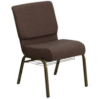 Flash Furniture FD-CH0221-4-GV-S0819-BAS-GG Brown 21 inch Extra Wide Church Chair with Communion Cup Book Rack - Gold Vein Frame