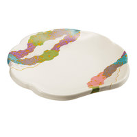 GET 139-CO 8 inch Contemporary Melamine Scallop Shaped Plate - 12/Pack