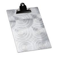 4 1/4 inch x 14 inch Menu Solutions ALSIN44-CLIP Single Panel Aluminum Clipboard Menu Board with Swirl Finish