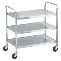 Vollrath 97106 Knocked Down Stainless Steel 3 Shelf Utility Cart - 33 inch x 21 inch x 36 1/2 inch